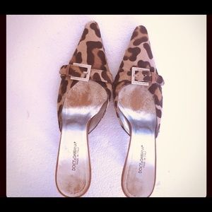 Dolce & Gabbana Leopard Mules with Rhinestone